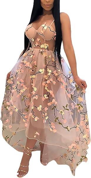 Kleider Damen Lang Elegante Sommerkleider Armellos Ruckenfrei Bestickt Netz Garn Perspektive Vokuhila Kleid Doppelte Schicht Irregular Fashion Prinzessin Partykleider Amazon De Bekleidung