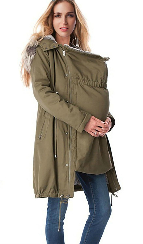 D-Pink 3 in1 Tragejacke Umstandsjacke Parka Damen Kapuzen Wattierte Jacke herausnehmbaren Einsatz Langarm