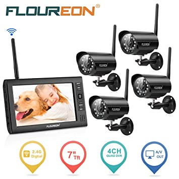 FLOUREON Wireless DVR Security System 7 Inch TFT LCD CCTV Monitor Video Recorder + 4 Pack