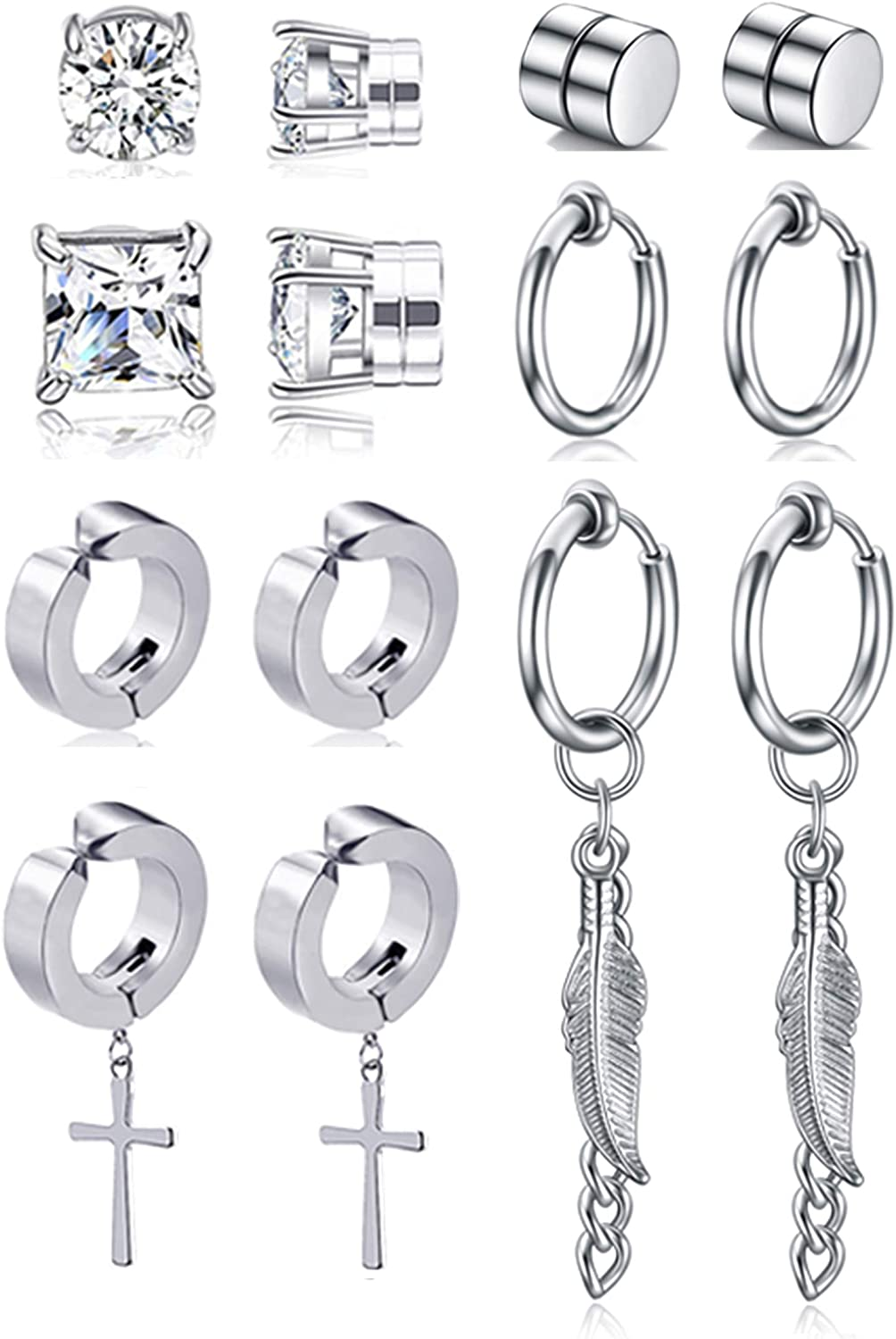 Ofeiyaa 7 Pairs Magnetic Stud Earring Stainless Steel CZ Clip On Earring Non- Piercing Huggie Cross Chain Pendant Earring Feather Hinged Hoop Earrings Set For Momen Men Black Silver Tone.
