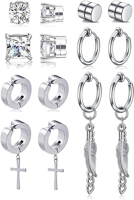 Aibada 6Pairs Stainless Steel Strong Magnet Magnetic Earrings for Men Women Ear Non Piercing Earring Set Hinged Earrings (-)