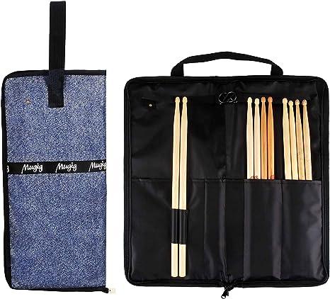 Mugig - Bolsa para baquetas de batería, impermeable y portátil, soporte para al menos 5 pares de música y partituras y accesorios pequeños para baqueta, algodón impermeable (azul): Amazon.es: Instrumentos musicales