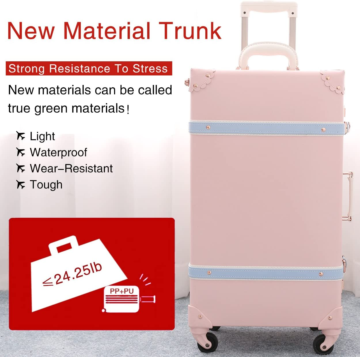 Girl Cute Trolley Suitcase Retro PU Trunk Rolling Spinner Luggage Pink 22