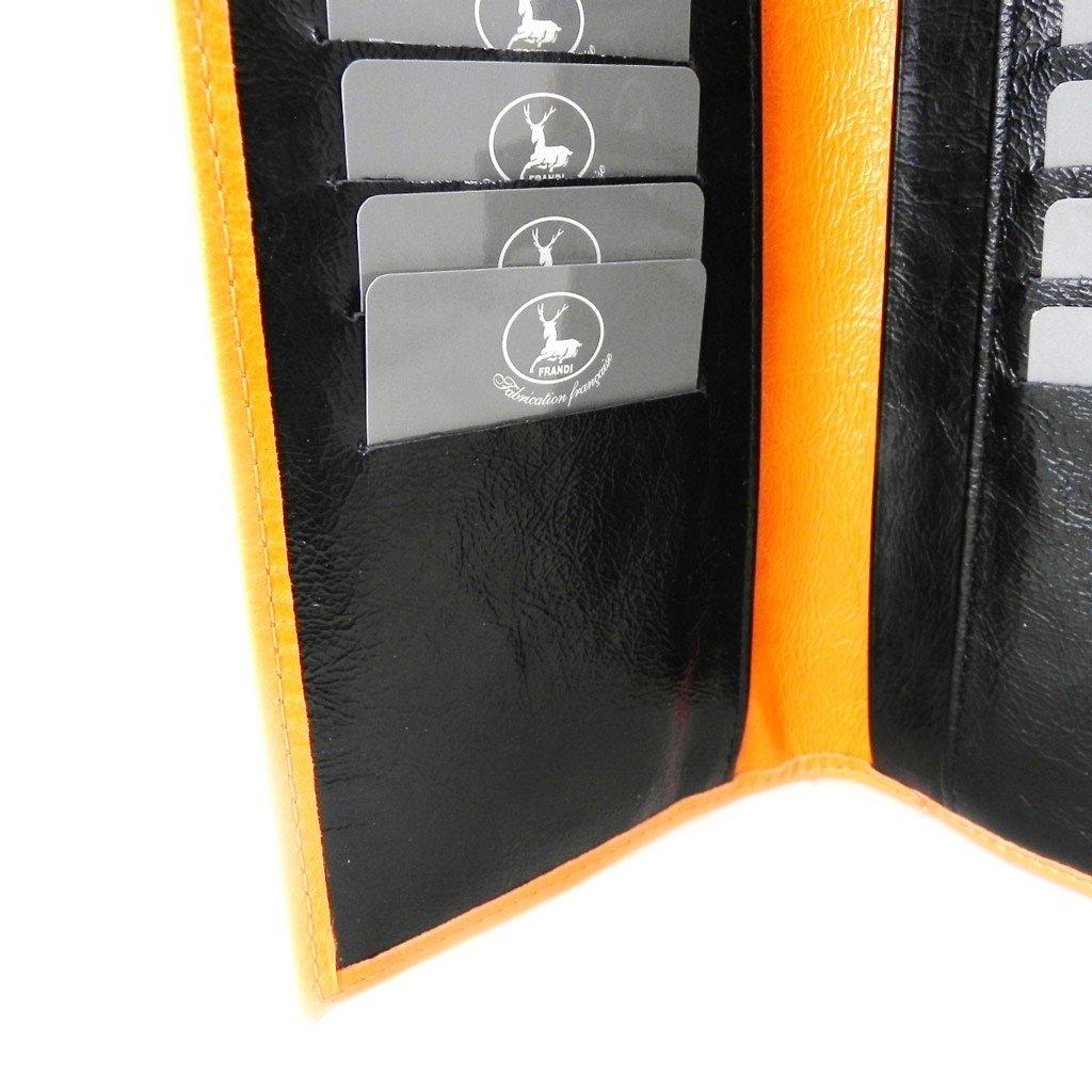 Wallet + checkbook holder leather ''Frandi'' orange black lacquer. by Les Tresors De Lily (Image #7)
