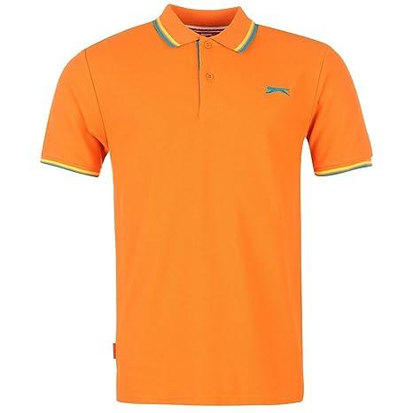 Slazenger con punta de Polo para hombre naranja Top camiseta Tee ...