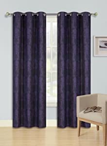 "GorgeousHomeLinen (F'S) 1 Panel 2 Tone Printed Design Room Darkening Thermal Blackout Window Curtain 35"" W x 63"" 84"" L (84"" Length, Cole-Purple)"