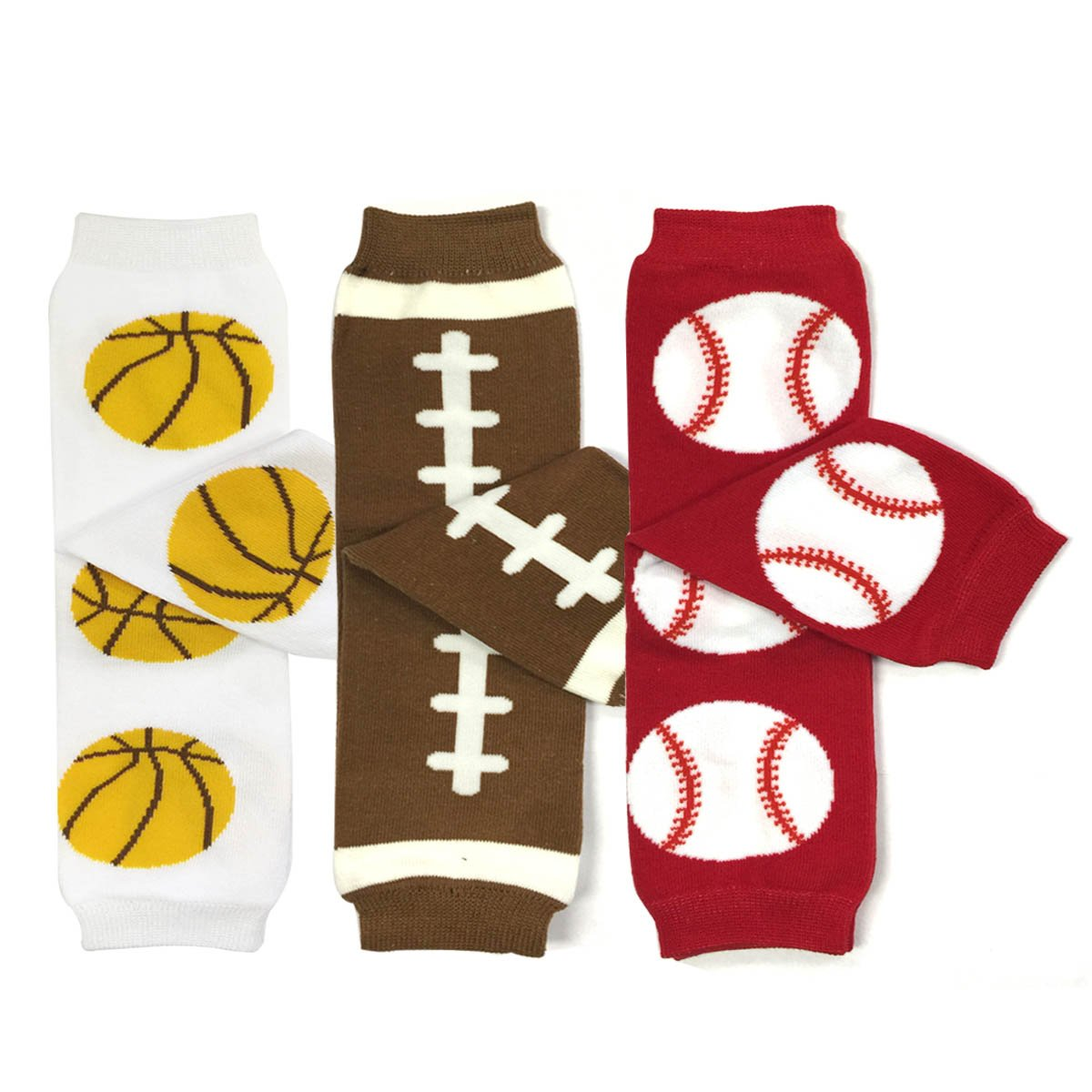 Bowbear Baby 3-Pair Playful Leg Warmers Basketball Football Baseball B68808c_AFN