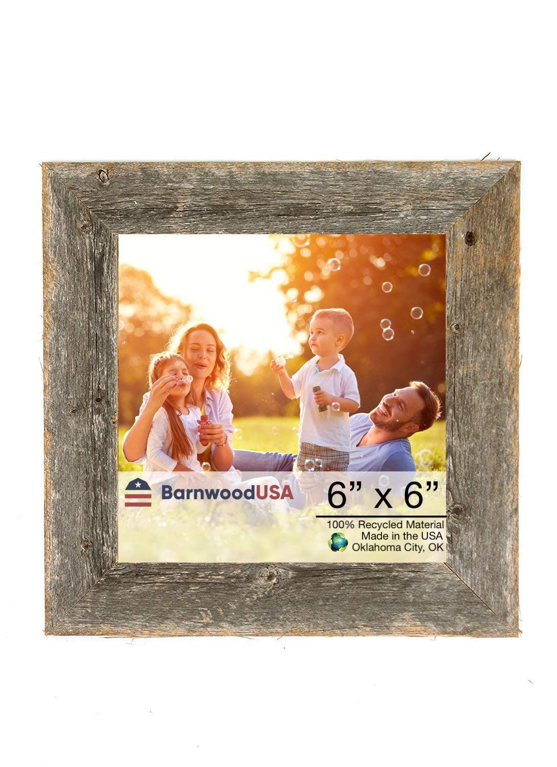BarnwoodUSA   Farmhouse Picture Frame, 2'' inch Molding - 100% Up-cycled Reclaimed Wood (6x6, Natural Weathered Gray) by BarnwoodUSA