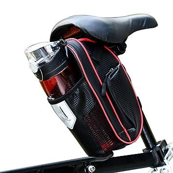 Selighting Bolsa de Sillin Bicicleta, Bolsa Bicicleta Montaña Alforja Bolsa Trasera Bicicleta Impermeable con Compartimento Botella
