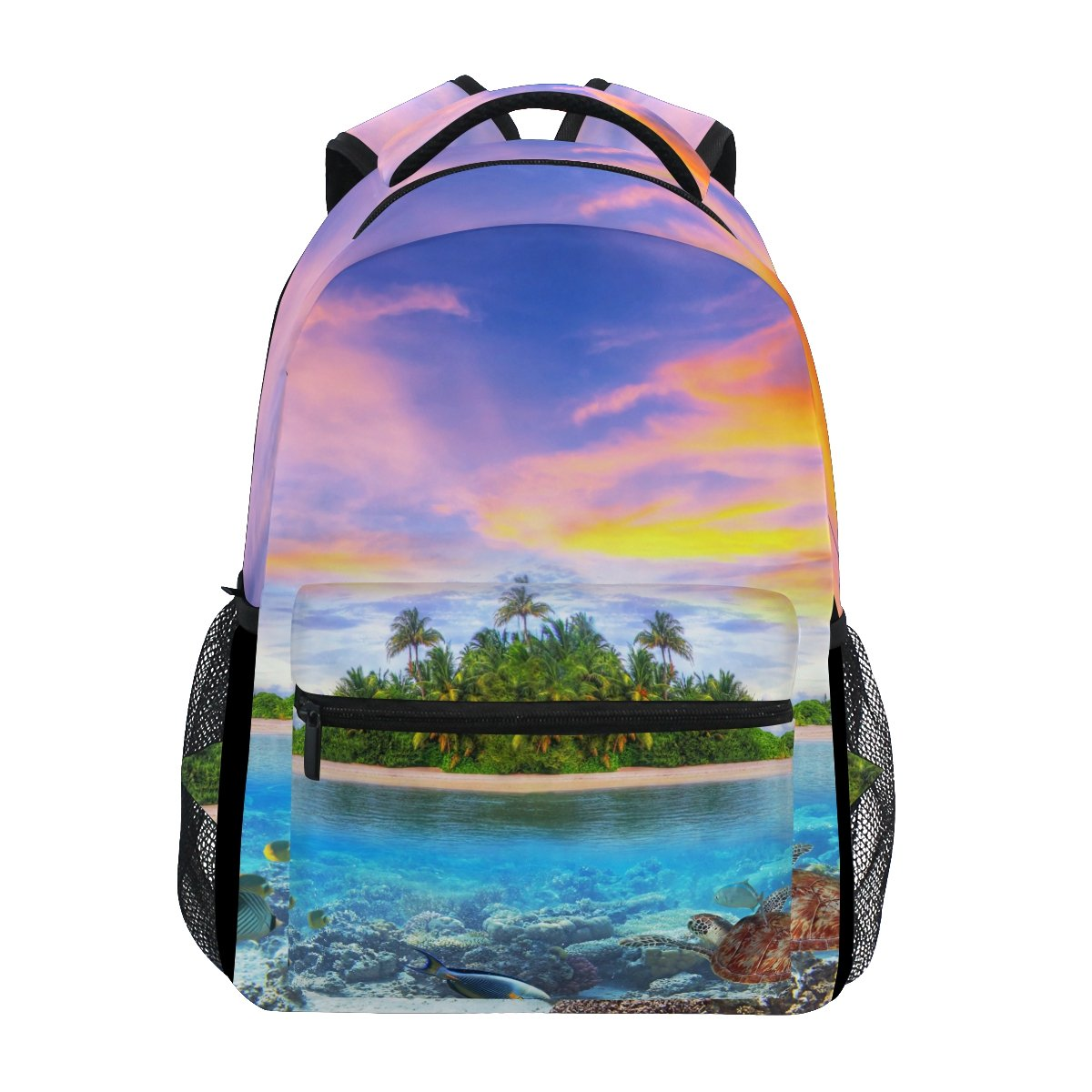 TropicalLife Summer Ocean Sea Beach Theme Backpacks School Bookbag Shoulder Backpack Hiking Travel Daypack Casual Bags