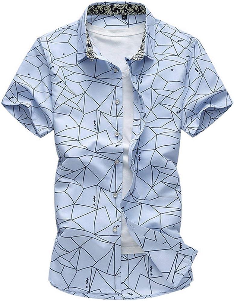 Camisa De Manga Corta Solapa De Verano para Hombre Ropa Camisa De Manga Corta Estampada para Hombre con Cuello Redondo (Color : Azul Claro, Size : M): Amazon.es: Ropa y accesorios