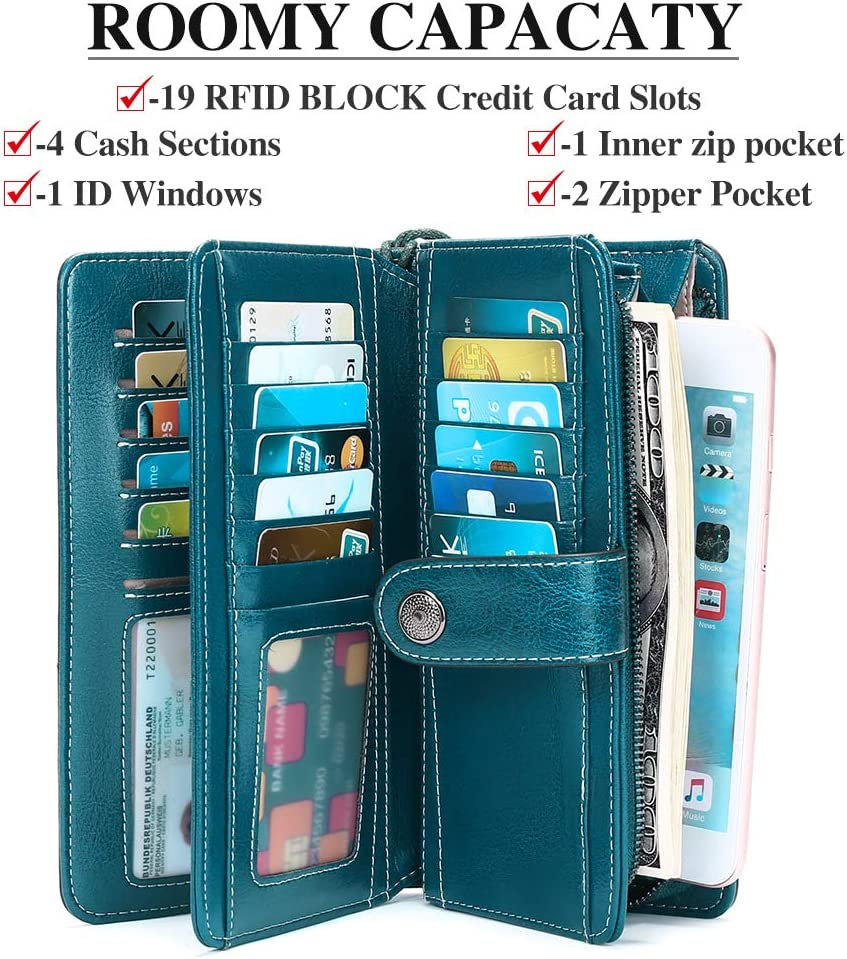 SENDEFN Fashion Genuine Leather Women RFID Blocking Multi Card Organizer Wallet para Mujer Monedero Azul Pavo Real