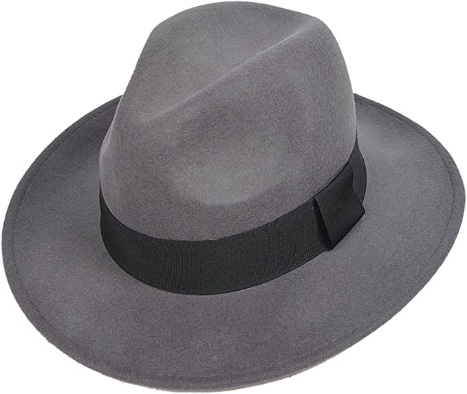1940s Mens Hats | Fedora, Homburg, Pork Pie Hats Jazmiu Men Summer Winter Fedora Hat - Lightweight - 100% Wool - Hand Made Vintage Hat - Wide Brim Trilby Wool Hat £20.99 AT vintagedancer.com
