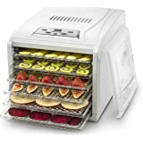 Gourmia GFD1650 Premium Countertop Food Dehydrator, With 6 Drying Shelves, Digital Thermostat, 8 Preset Temperature Settings, Airflow Circulation, Countdown Timer Free Recipe Book Included – White