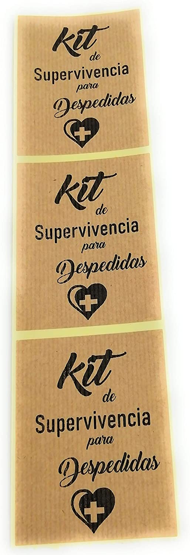 Kit Supervivencia para despedidas 50 Etiquetas adhesiva kraft