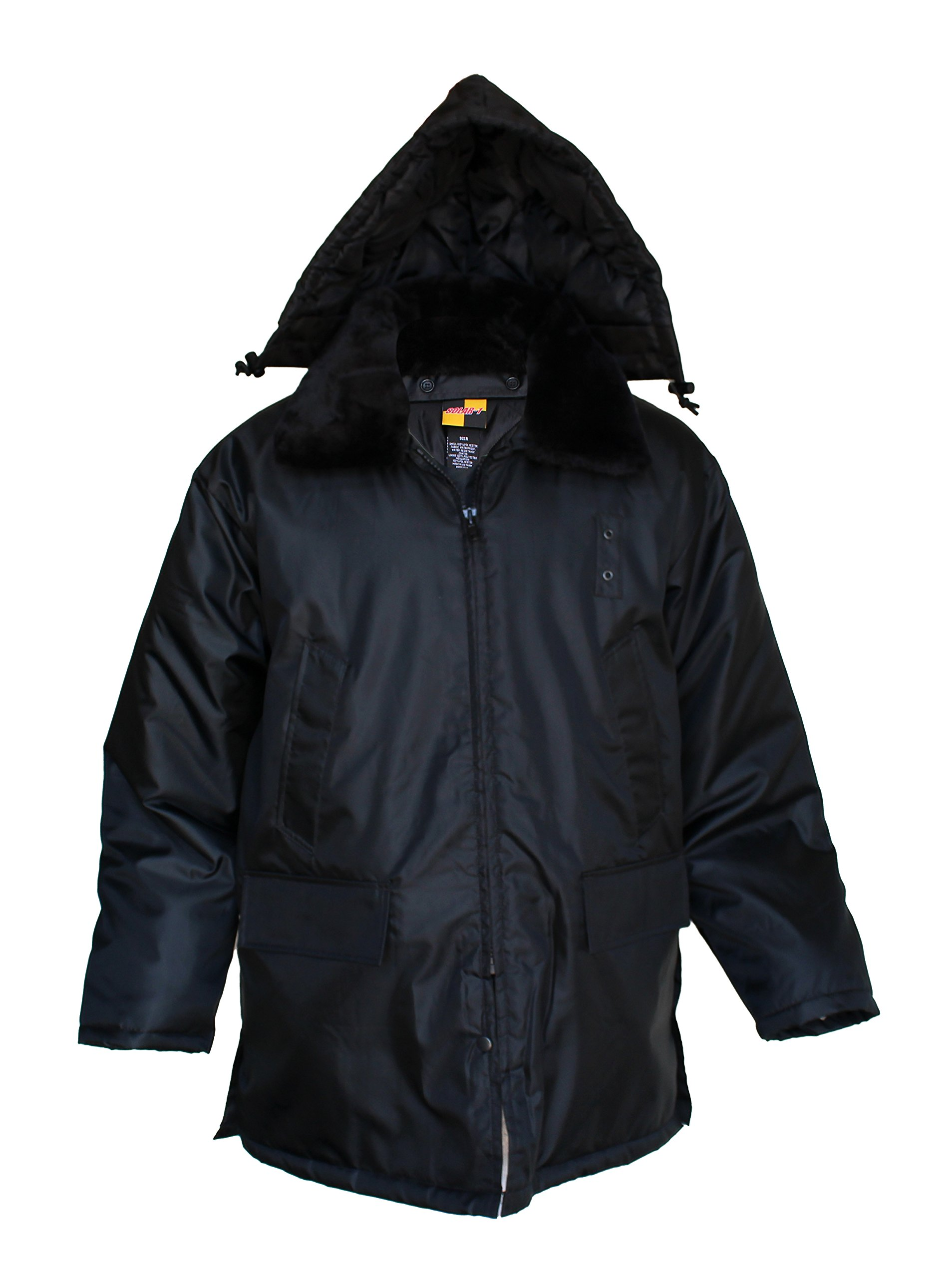 Solar 1 Clothing 921R Nylon Security Parka Duty Jacket, Black, Medium