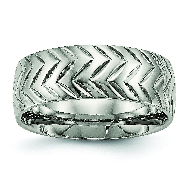 Titanium Polished Diamond Cut Ring