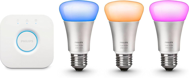 Philips Hue White and Color - Kit de 3 bombillas LED E27 y puente ...