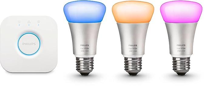 Philips Hue White and Color - Kit de 3 bombillas LED E27 y puente, 9,5 W, iluminación inteligente, 16 millones de colores, compatible con Apple ...