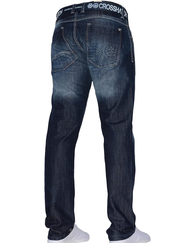 New Mens Crosshatch Designer Regular Fit Denim Straight Leg Jeans