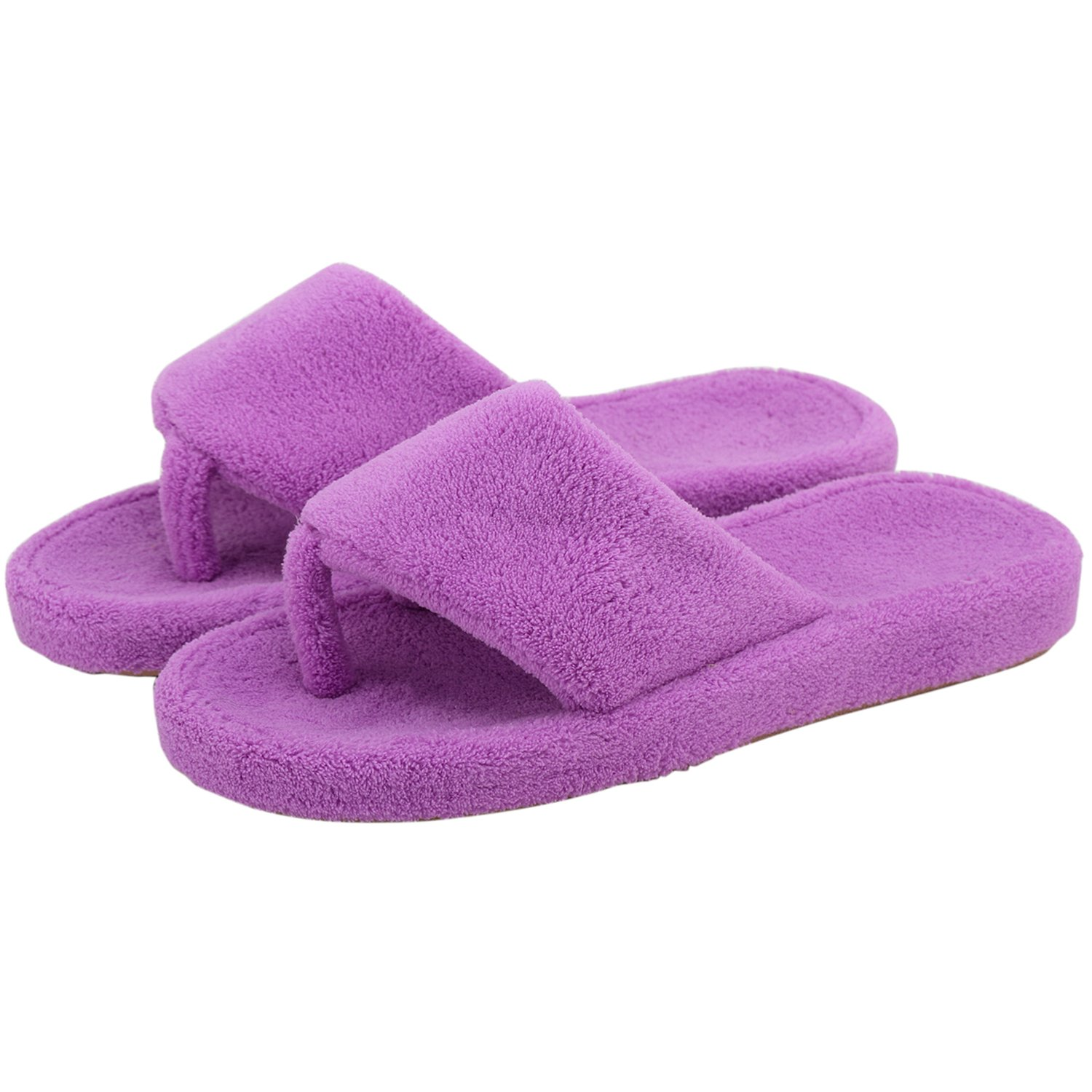 Onmygogo Women Coral Fleece House Slippers with Arch Support, Flip-Flops Thong Slippers for Men and Women (US Women Size 9.5-10.5, Purple)