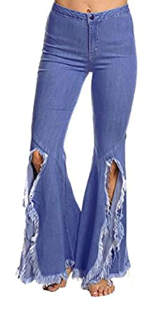 cc85303bd12 Chartou Women s Asymmetric Tassel Flared Slit Ripped Jeans Denim Pants  (X-Small