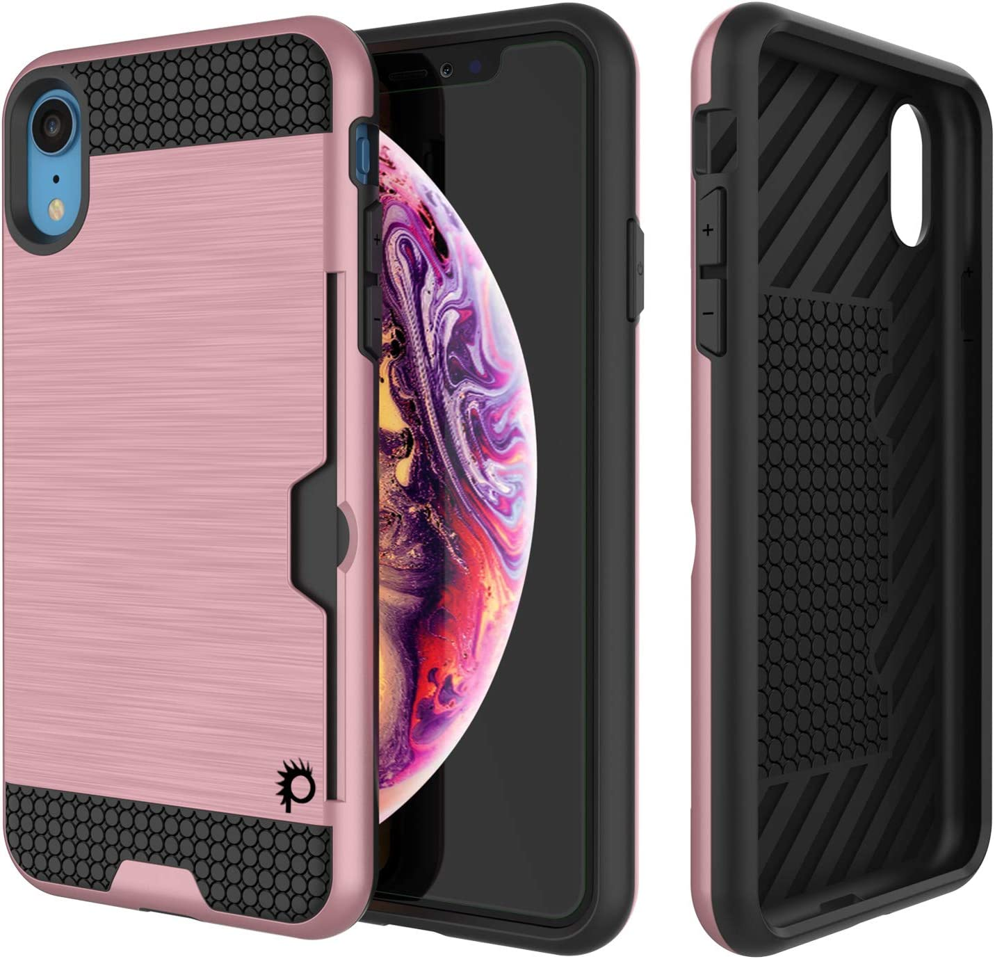 iPhone XR Case, PUNKcase [Slot Series] [Slim Fit] Universal Armor Cover w/Integrated Anti-Shock System, Credit Card Slot & Tempered Glass Screen Protector for Apple iPhone XR [Rose Gold]