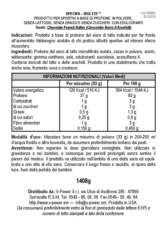Species Nutrition Isolyze Peanut Butter Supplement, Chocolate, 3.1 Pound