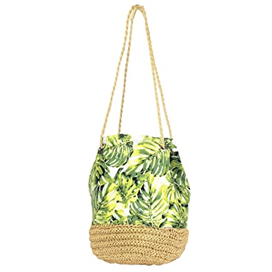 a7f77dca8a11 Auliné Collection Tropical Print Straw Woven Bucket Shoulder Canvas Bag  Backpack - TP Shoulder Bag