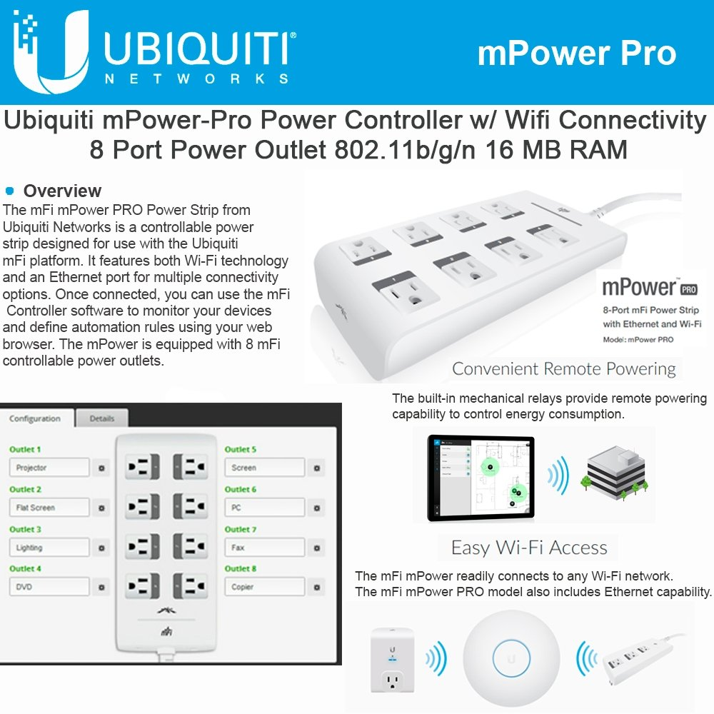 Ubiquiti Networks MPOWER-PRO mFI 8-Port Power Wi-Fi Ethernet