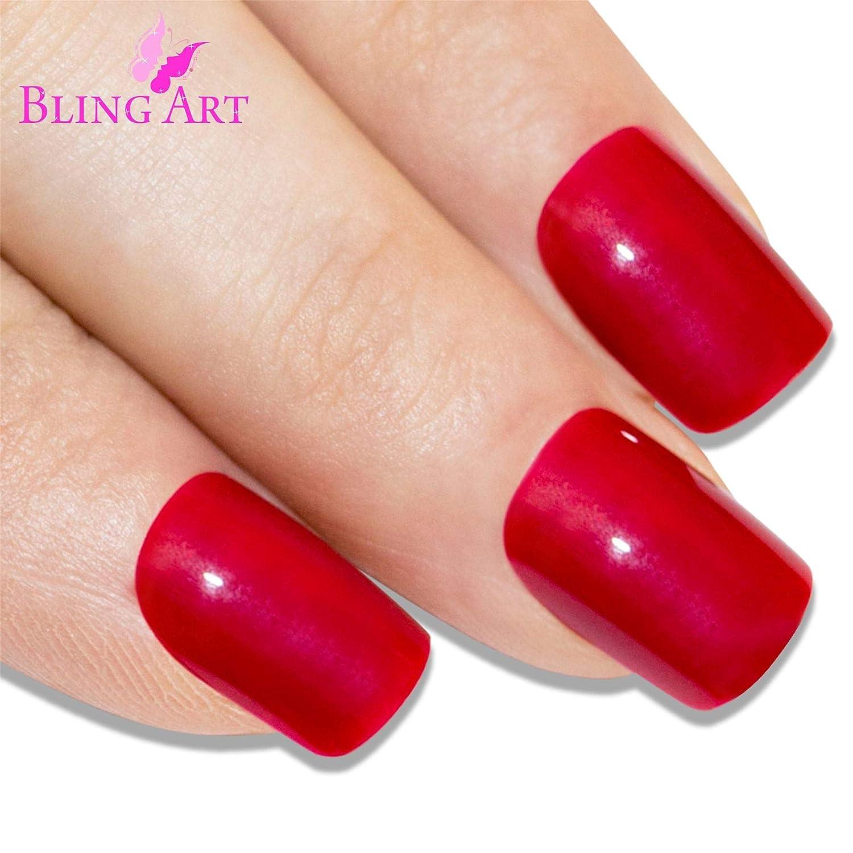 Uñas Postizas Bling Art Rojo Pulido 24 Squoval Medio Falsas puntas acrílicas con pegamento: Amazon.es: Belleza