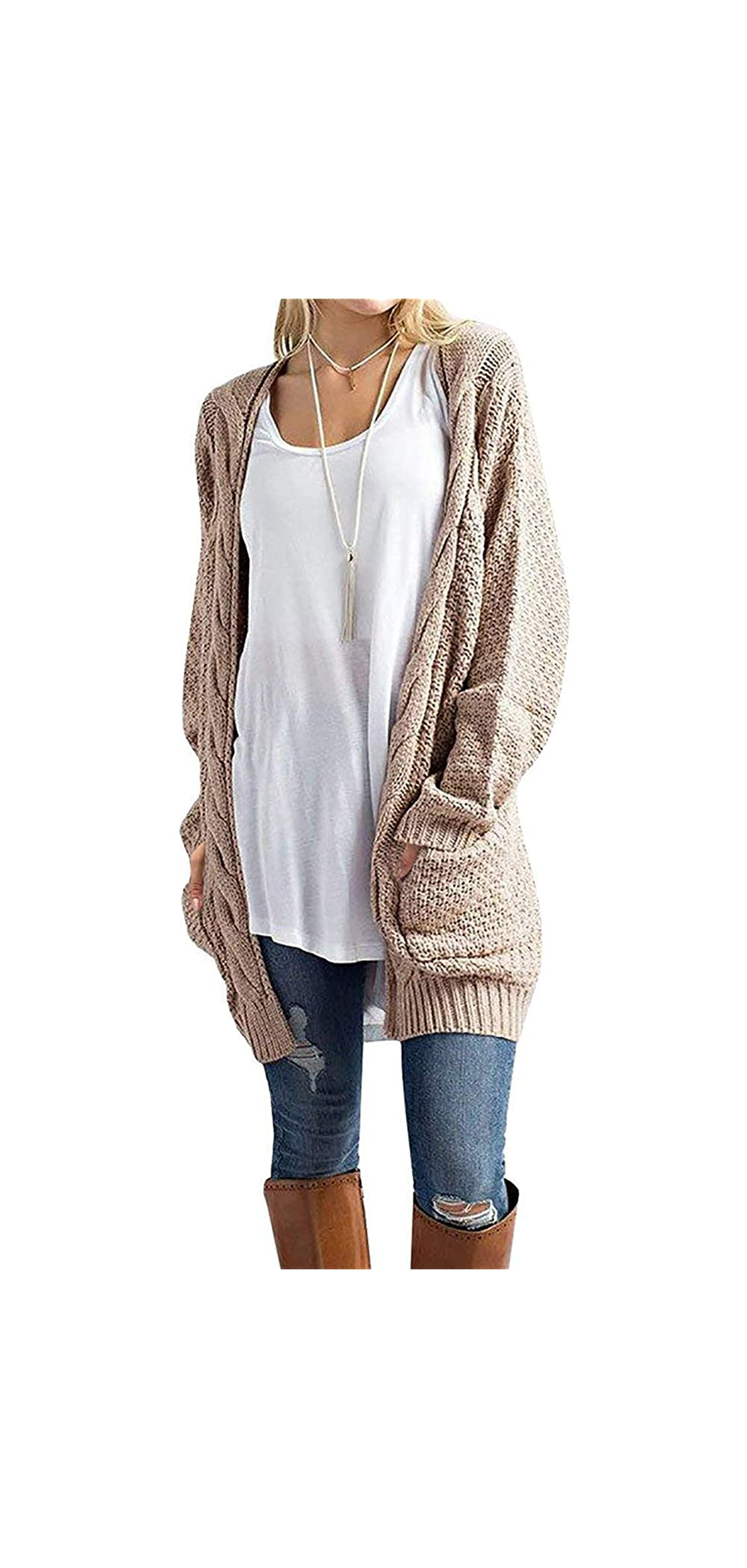 Women's Loose Open Front Long Sleeve Solid Color Knit Cardigans