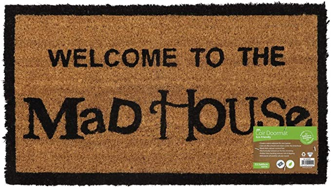 Jvl Novelty Pvc Backed Coir Mad House Entrance Door Mat Vinyl Brown 33 X 60 Cm Amazon Co Uk Kitchen Home