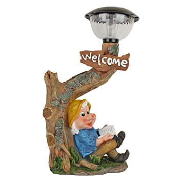 Buy Home Decorative Items Dwarf Sitting Under Tree With Solar