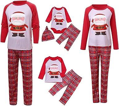 POLP niño Navidad Santa Claus Ropa niñas Unisex Pijama Bebe Navidad Regalo Estampado de Navidad Manga Larga Vestido Estampado de Santa Claus Tops y ...