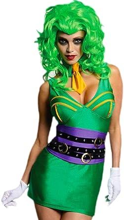 erdbeerloft – Mujer Super Orbe Joker Gangster Disfraz con peluca, XS de m, Verde