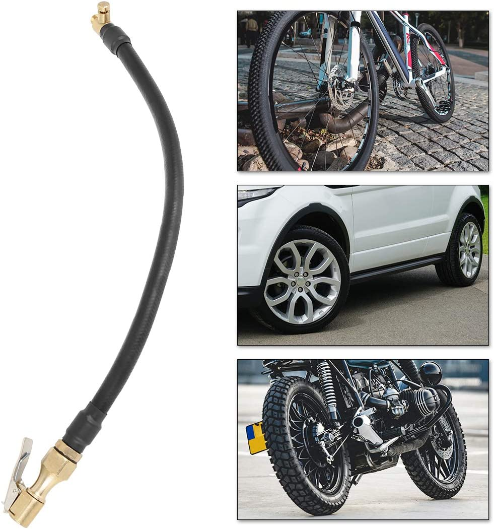 X AUTOHAUX 30cm Tire Inflator Extension Hose Adapter Locking Tube Air Valve Chuck for Car