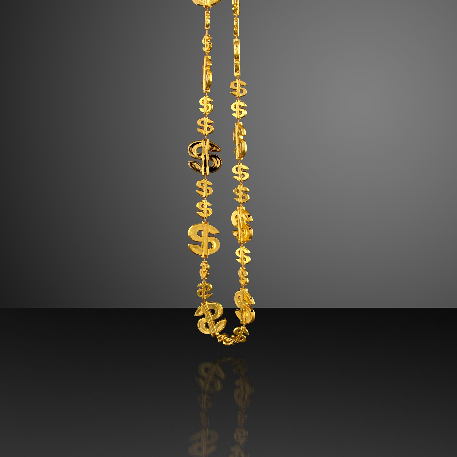 FlashingBlinkyLights Shiny Gold Dollar Signs Party Beads Necklaces (Set of 144)