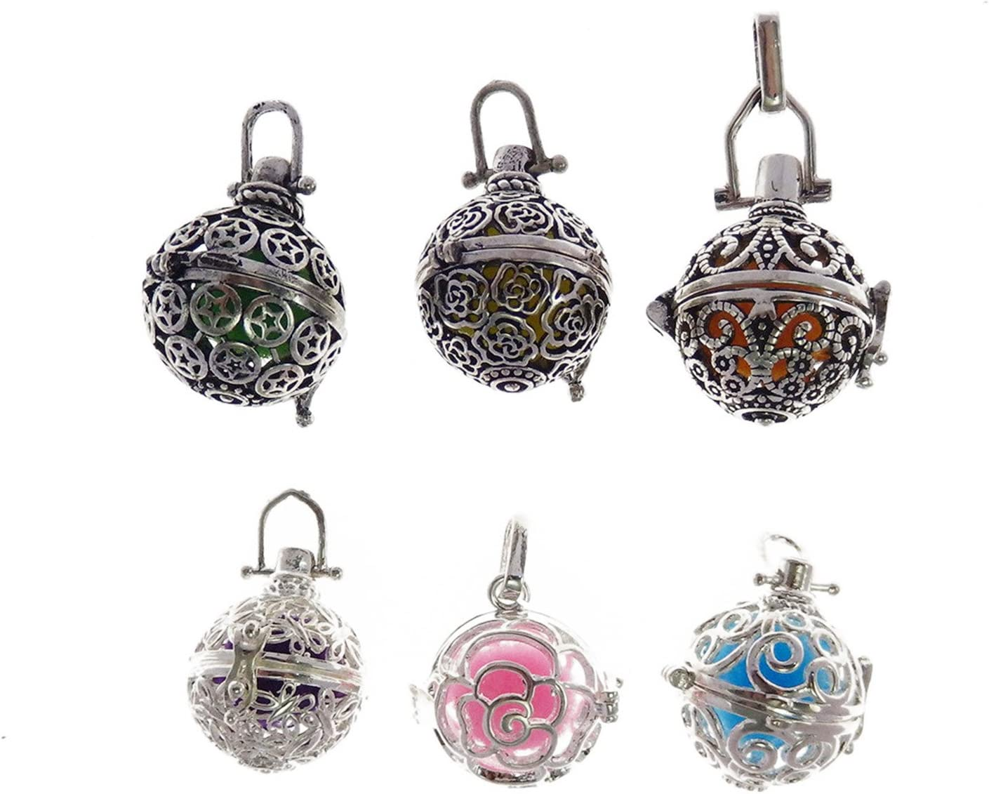 GraceAngie 6Pcs Mixed Antique Silver Diffuser Cage Locket Pendant Charms with Lava Beads for Aromatherapy Essential Oil Necklace Bracelet Jewellery Making