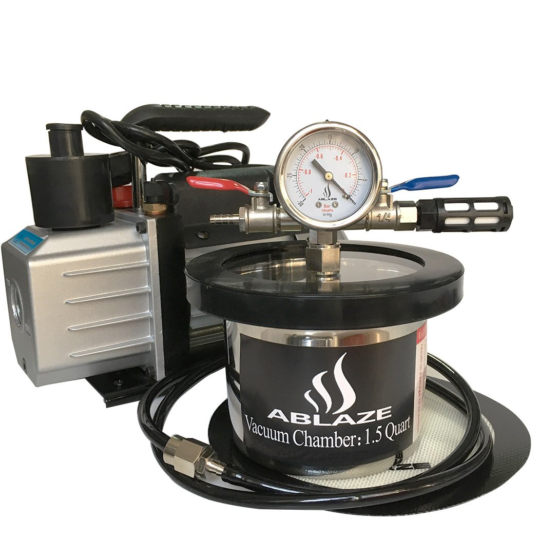 ABLAZE 1.5 Quart Stainless Steel Vacuum Degassing Chamber and 3 CFM Single Stage Pump Kit by Ablaze