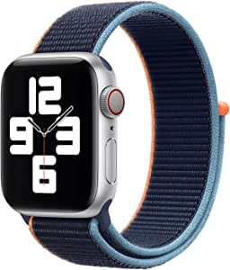 Nylon Loop Band for Apple Watch 40mm / 38mm Series 1/2/3/4 Replacement Strap Mesh Soft Sports Wristband Bracelet - Navy Orange