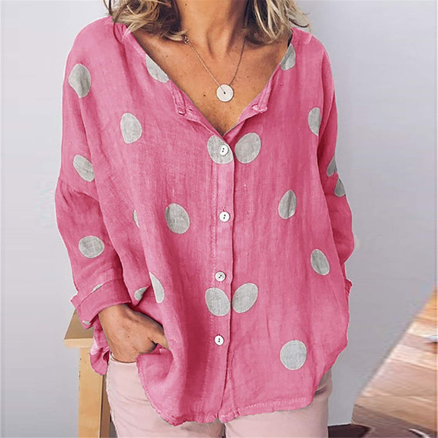 Londony ❤ Womens Button Down V Neck Polka Dot Shirts Loose Fitting Bat Short Sleeve Henley Shirts Front Tie Tops