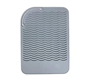 """Heat Resistant Mat for Curling Irons, Hair Straightener, Flat Irons and Hair Styling Tools 9"""" x 6.5"""", Food Grade Silicone, Grey"""