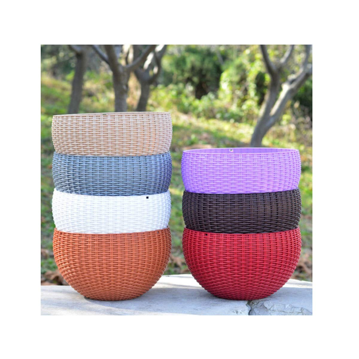 HUIJUNWENTI Bamboo Baskets, Plastic Resin Round Hanging Flower Pots, Creative Green Lotus Flower Pots, (Color : Coffee, Size : L) by HUIJUNWENTI