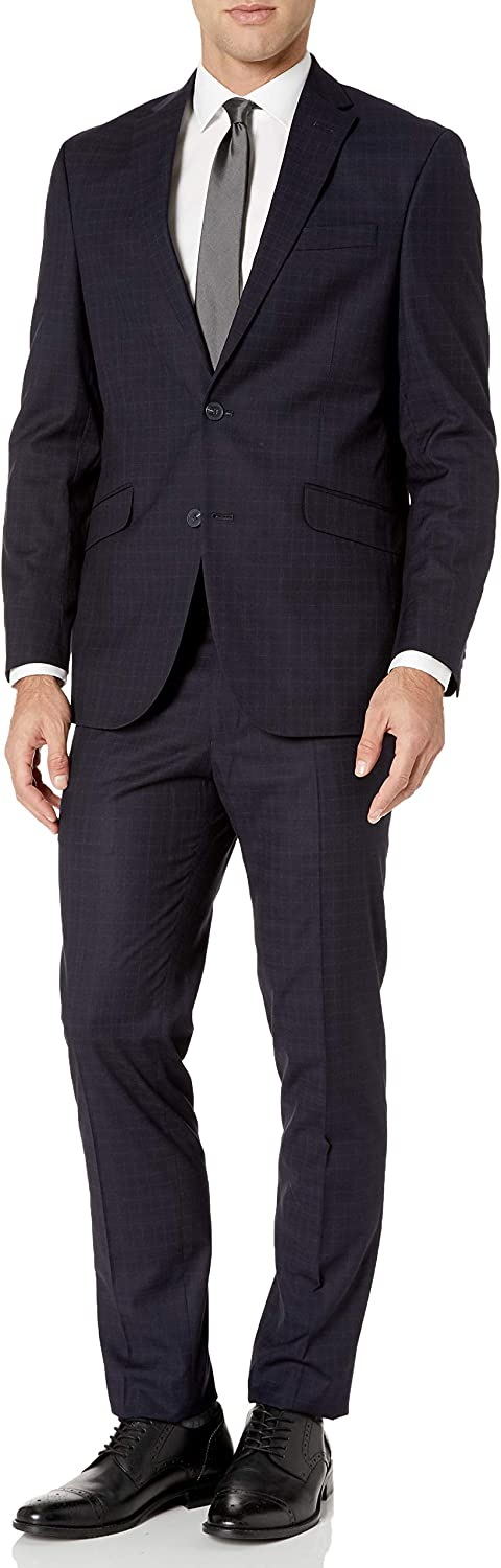"Kenneth Cole REACTION Men's 32"" Finished Bottom Suit, Navy Crepe STRI, 48R"