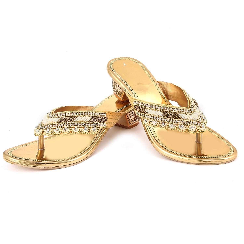 Buy Sagar Golden Rexin Sandals for