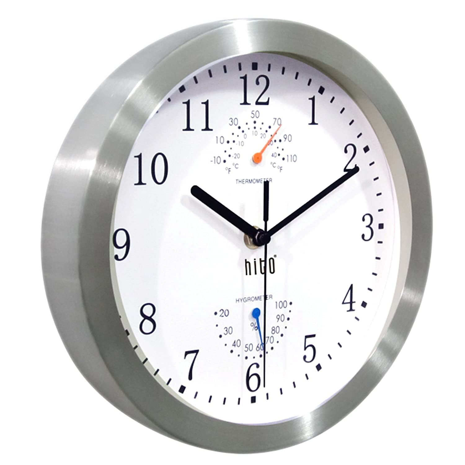Decorative for Kitchen Black Bedroom HITO Modern Silent Wall Clock Non Ticking 10 inch Excellent Accurate Sweep Movement Silver Aluminum Frame Glass Cover Office Bedroom Bathroom Living Room