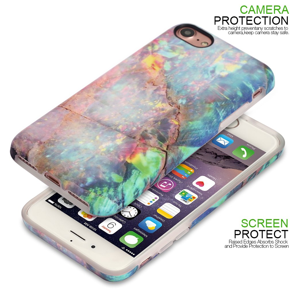 Nasousa iPhone 8 for Girls,iPhone 7 marble case,IMD Printing Slim-Fit Ultra-Thin Anti-Scratch Shock Proof Dust Proof Anti-Finger Print TPU Case for iPhone 7 8 (4.7 inch)(Colorful Marble)