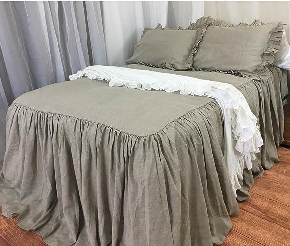 Amazoncom Dark Linen Bedspread Handmade In Natural Linen Dark