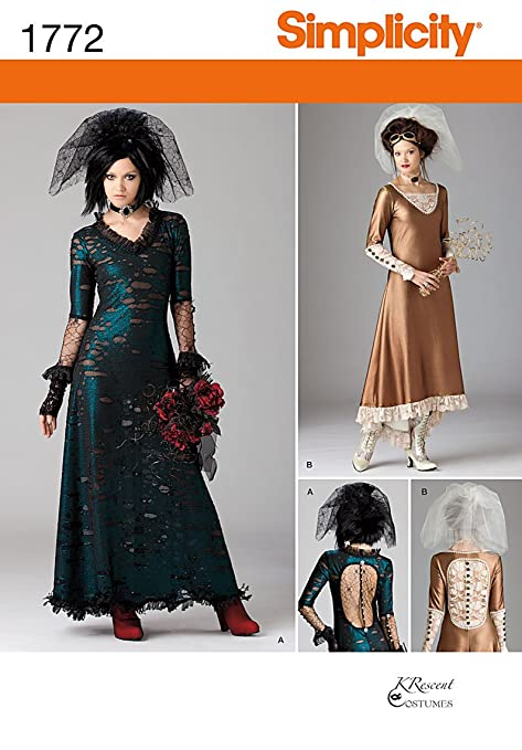 Victorian Bustle Dress Costume Guide Simplicity 1772 Misses and Mens Costume Sewing Pattern Size D5 (4 6 8 10 12) $7.88 AT vintagedancer.com